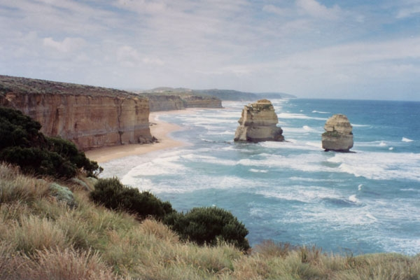 Cliffs and beach by Great Ocean Road