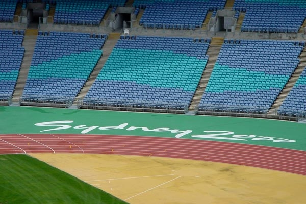 Send picture of Seats and track at Sydney Olympic Stadium from Australia as a free postcard