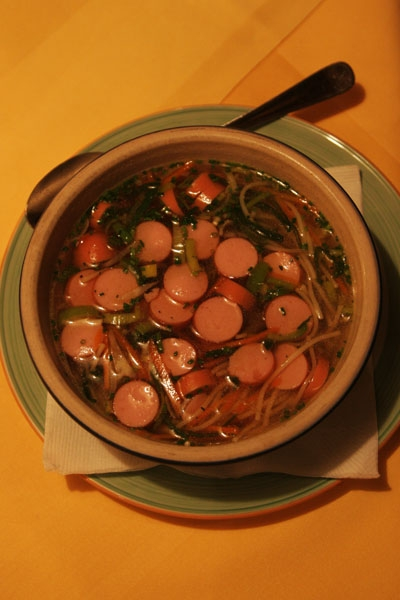 Send picture of Austrian sausage soup from Austria as a free postcard