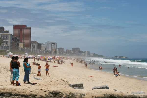 Send picture of Sunny day on Copacabana beach in Rio de Janeiro from Brazil as a free postcard