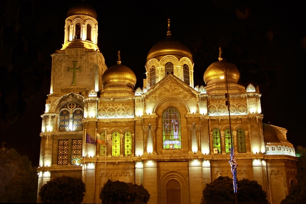 Send picture of Lit cathedral in Varna from Bulgaria as a free postcard
