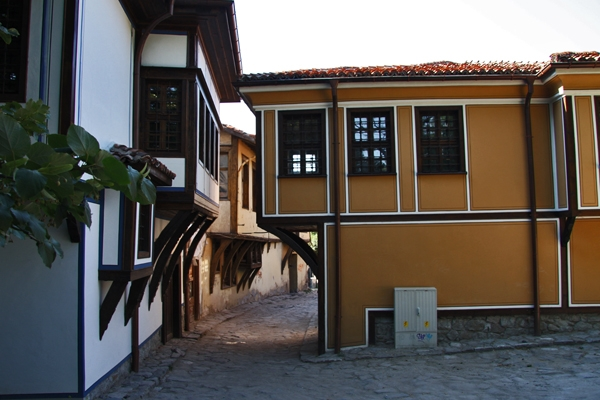 Send picture of Typical street and houses in Plovdiv from Bulgaria as a free postcard