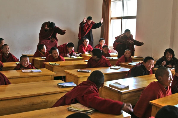 Send picture of Young monks in class at Trangu monastery from China as a free postcard