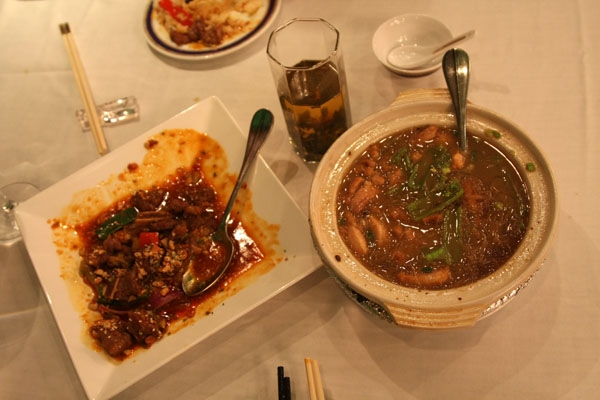 Send picture of A spicy meal with tea in Sichuan province from China as a free postcard