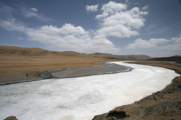 Send picture of Frozen river in Qinghai from China as a free postcard