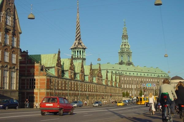 Send picture of Street by the Copenhagen Stock Exchange from Denmark as a free postcard