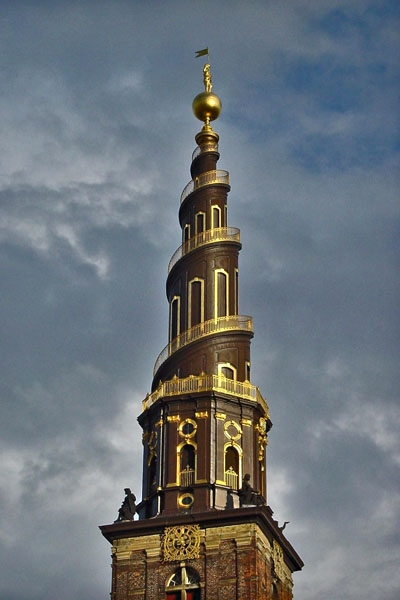 Send picture of The spiral tower of Our Saviour Church in Copenhagen from Denmark as a free postcard