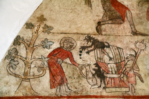 Send picture of Fresco from the year of 1325 in Ørslev Church from Denmark as a free postcard