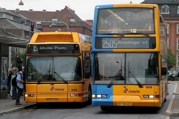 Send picture of Copenhagen buses from Denmark as a free postcard