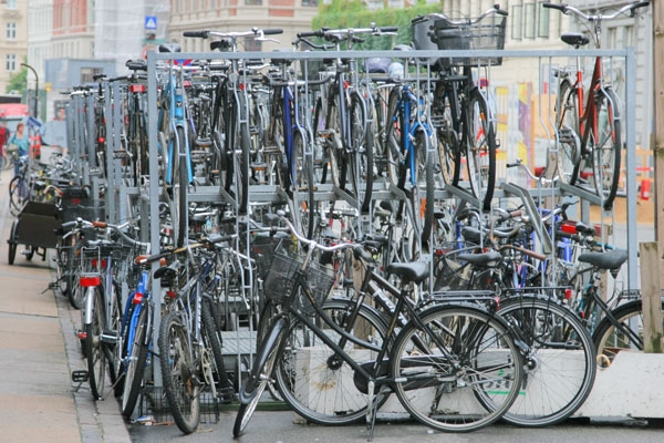Send picture of Bicycle parking in Copenhagen from Denmark as a free postcard