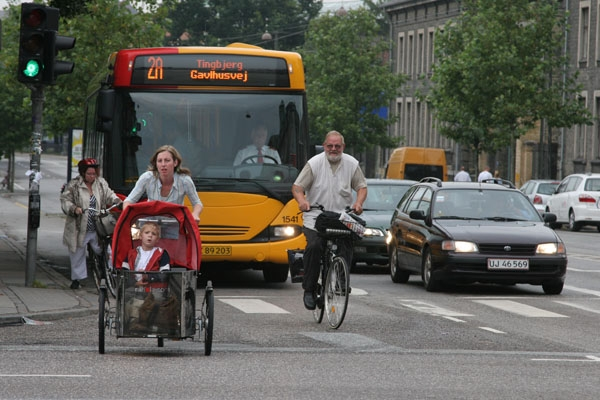 Send picture of Typical Copenhagen traffic from Denmark as a free postcard