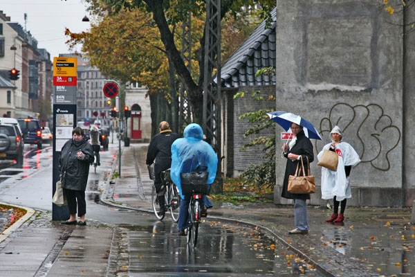 Send picture of Rainy day in Copenhagen from Denmark as a free postcard