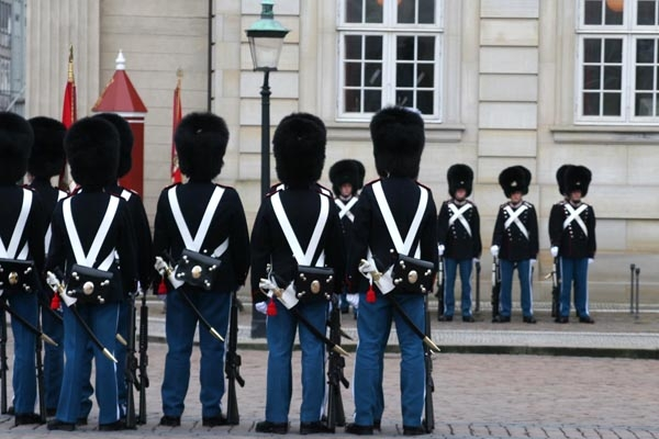 Send picture of The Royal Guard on the job in Copenhagen from Denmark as a free postcard