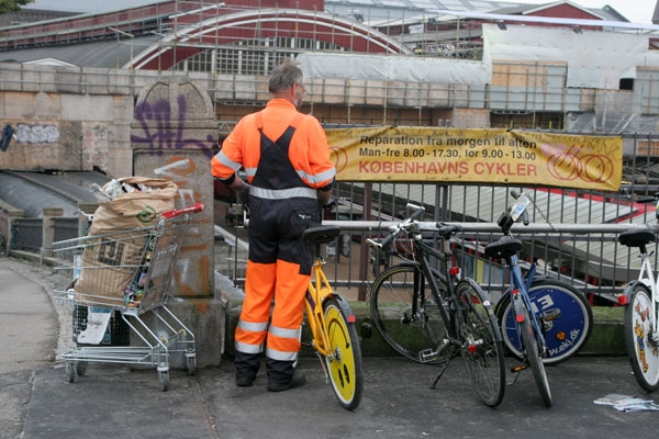 Send picture of Collecting broken public bicycles from Denmark as a free postcard