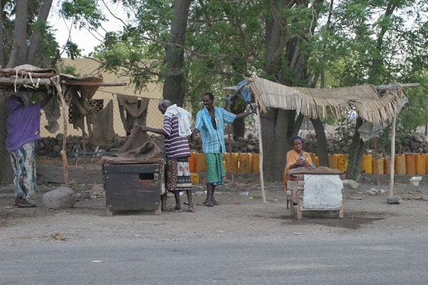 Stuur foto van Qat vendors by the roadside between Djibouti town and Dikhil van Djibouti als een gratis kaart