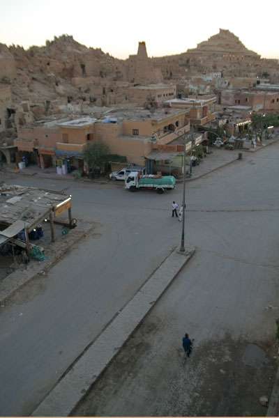 Street in Siwa after sunset during Ramadan