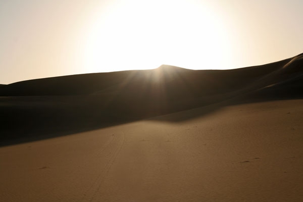 Stuur foto van The sun playing in the sand in the Great Sand Sea van Egypte als een gratis kaart