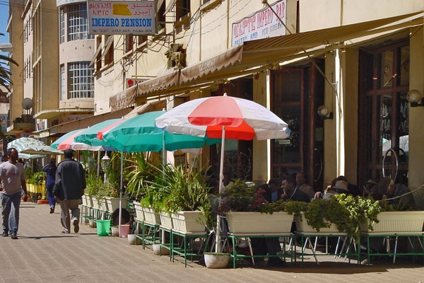Send picture of An Asmara café from Eritrea as a free postcard