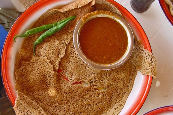 The traditional Eritrean dish injera