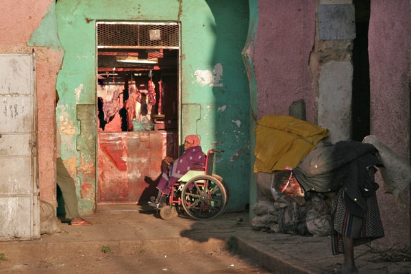 Send picture of Butcher shop in Harar from Ethiopia as a free postcard