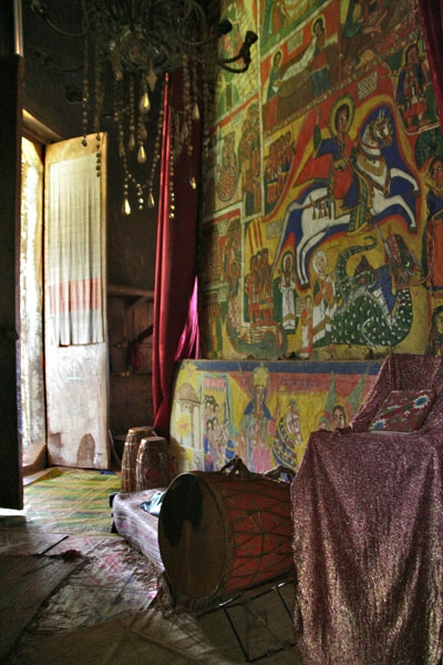Send picture of Interior and murals inside a monastery by Lake Tana from Ethiopia as a free postcard