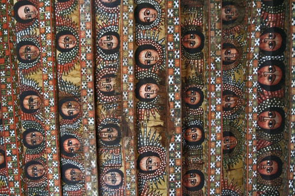 Send picture of Cherubic faces on the ceiling of Debre Birhan Selassie church from Ethiopia as a free postcard