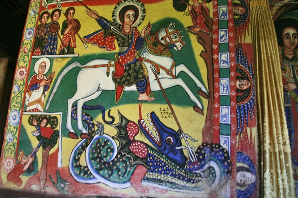 Send picture of Mural depicting the popular Saint George in a Lake Tana monastery from Ethiopia as a free postcard