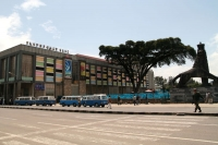Foto van Road, the National Theater, and a lion statue in Addis Ababa - Ethiopia