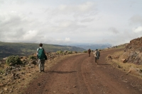 Foto van A scout, a tourist and a horse with no name on a mountain road - Ethiopia