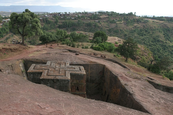 Send picture of The Bet Giyorgis rock-hewn church in Lalibela from Ethiopia as a free postcard