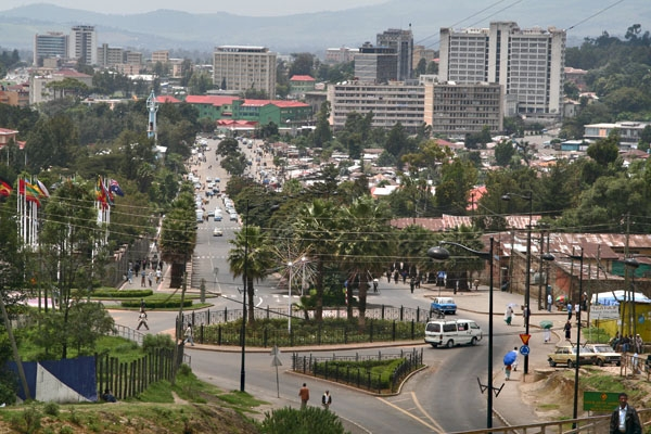 Send picture of View over street and buildings in Addis Abeba from Ethiopia as a free postcard