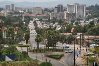 Foto van View over street and buildings in Addis Abeba - Ethiopia