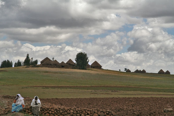 Envoyer photo de Women and tukul huts in northern Ethiopia de l'Ethiopie comme carte postale électronique