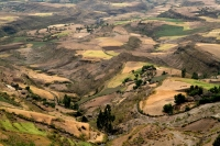 Picture of Ethiopian mountain landscape with tukul huts  - Ethiopia