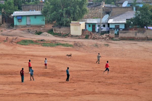 Send picture of Children playing football in Harar from Ethiopia as a free postcard