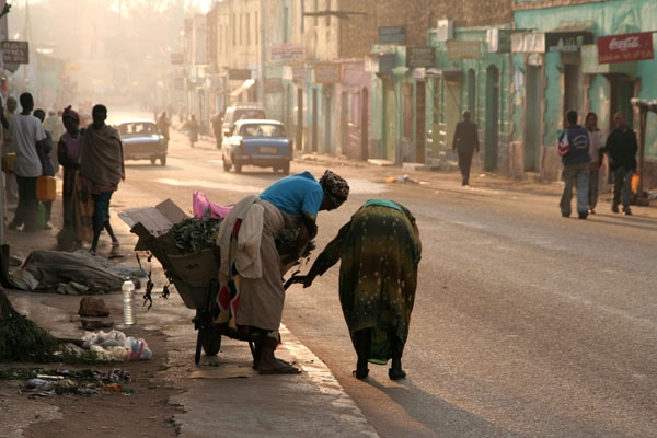 Women cleaning the streets of Harar