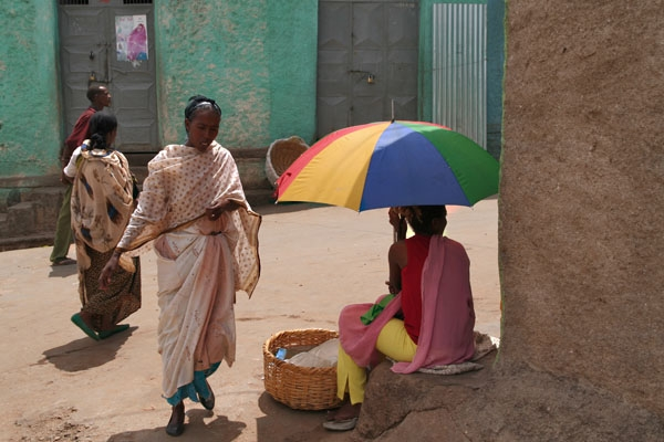 A woman selling bread in the street in Harar