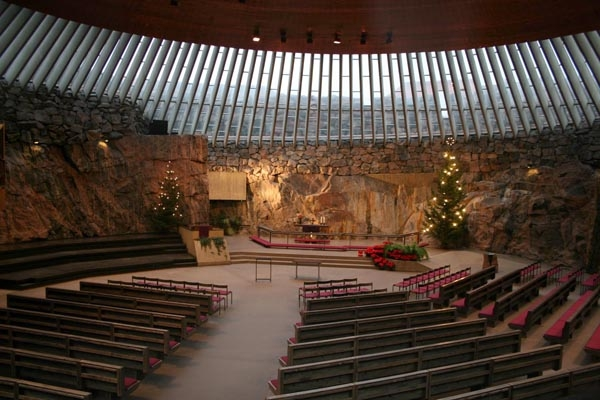 Send picture of Interior of the modern Temppeliaukio church in Helsinki from Finland as a free postcard
