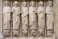 Picture of Sculptures of apostles on the Notre Dame in Paris - France