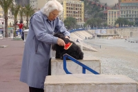 Picture of Woman grooming her dog in Nice - France