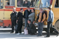 Foto van Passengers at Gori bus station - Georgia