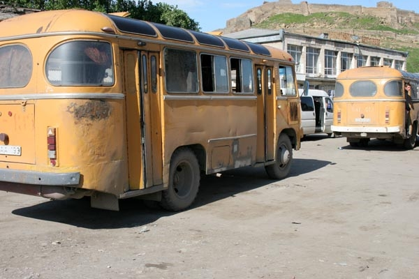 Send picture of Busses in Gori from Georgia as a free postcard