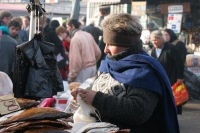Picture of Woman selling dried fish at the Tblisi market - Georgia