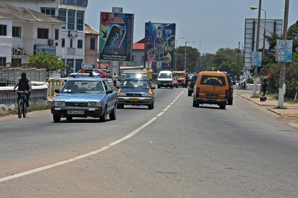 Send picture of Traffic on one of the many streets of Accra from Ghana as a free postcard