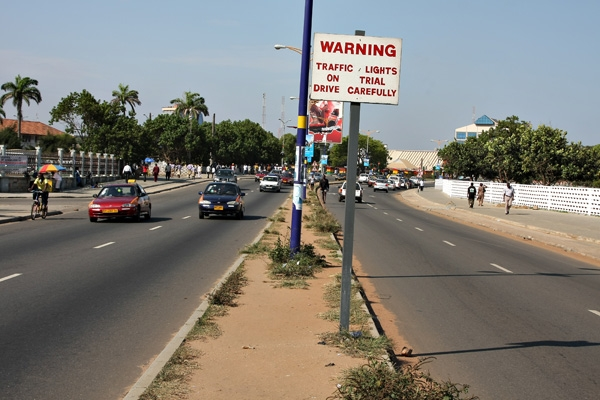Send picture of Cars on a road in Accra from Ghana as a free postcard