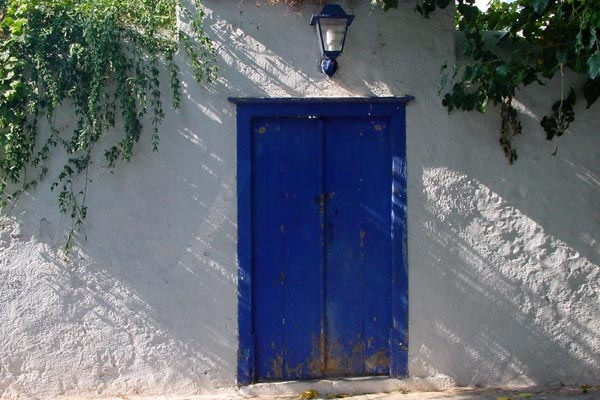  Typical blue door of a house on Hydra