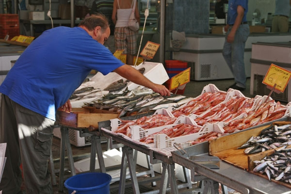 Send picture of Greek fish vendor from Greece as a free postcard