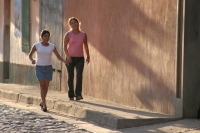 Picture of Girls and shadows in a Copán street - Honduras