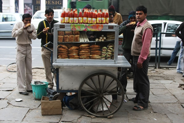 Send picture of Food stand in Delhi from India as a free postcard