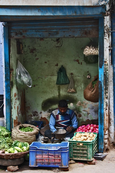 Enviar foto de Vegetable shop in Delhi de India como tarjeta postal eletrónica